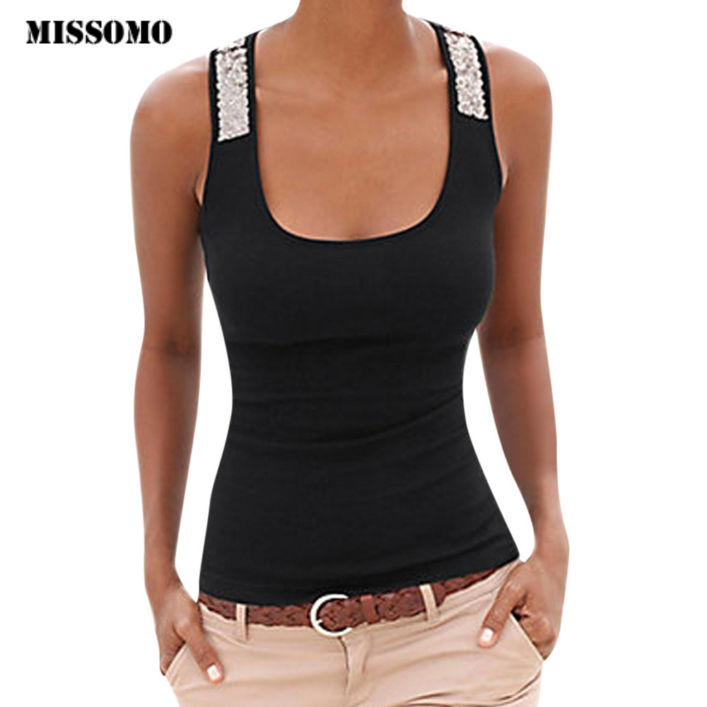 MISSOMO Vest Tops Sequin Plus-Size Tshirt Off-Shoulder Casual Women Ladies Sleeveless
