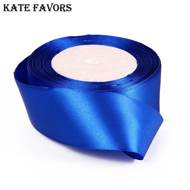 (25 ярдов/рулон) 40 мм Королевский синий одного лица атласная лента лямки украшение лента подарок на Рождество ленты для шитья