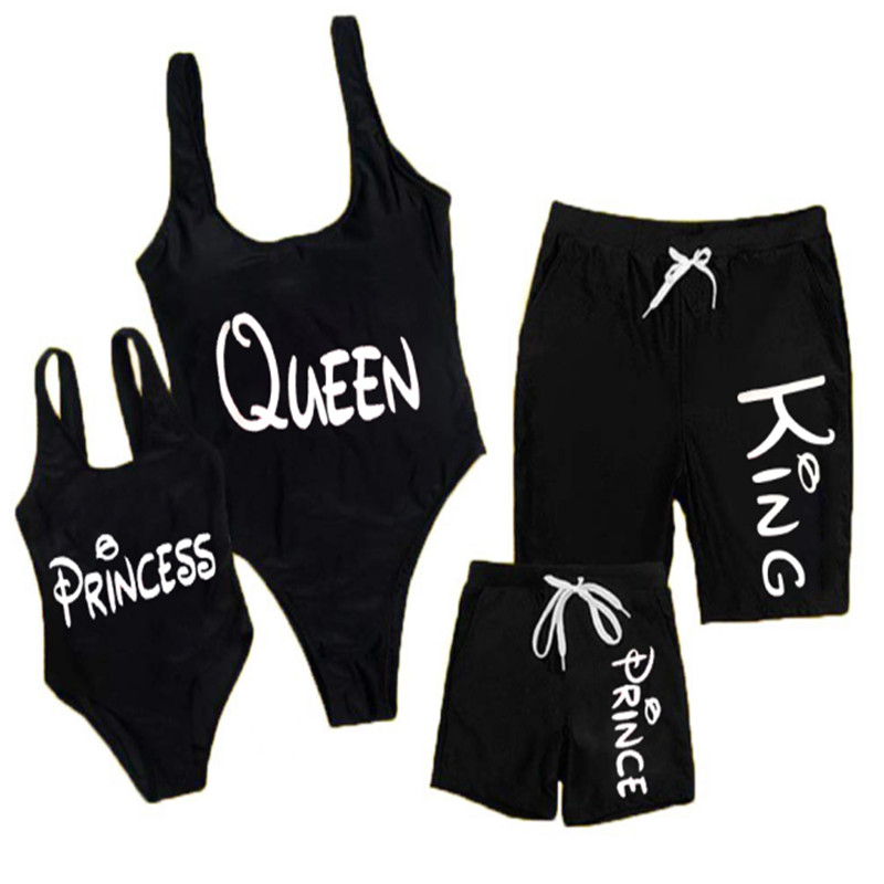 Black Family Matching Swimwear Mother Daughter Jumpsuit  Bikini Father Son Trunks Shorts Summer Beachwear Parents-Kids Swimsuit