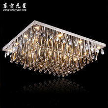 crystal chandelier led lamp rectangle shape smoky grey crystal lustres luxury light decoration