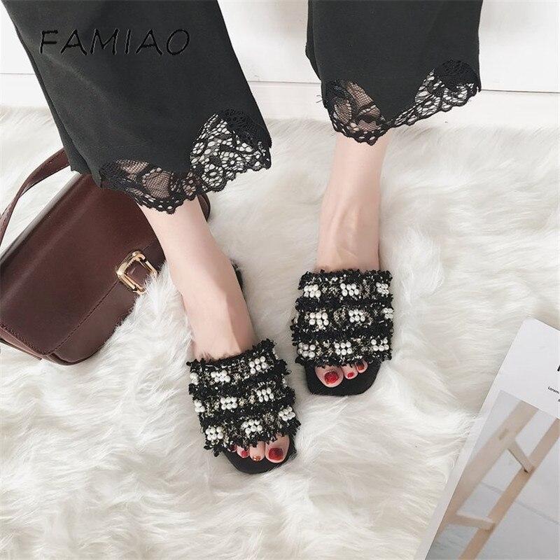 FAMIAO новый модный бренд твердого жемчужина на плоской подошве женские шлепанцы шерсть Голливуд груша сандалии с открытым носком пикантные п...
