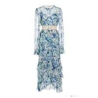 2019 женское платье Весна Лето богемное шелковое платье с длинными рукавами и оборками с пляжным цветочным принтом Высокое качество ремень Э
