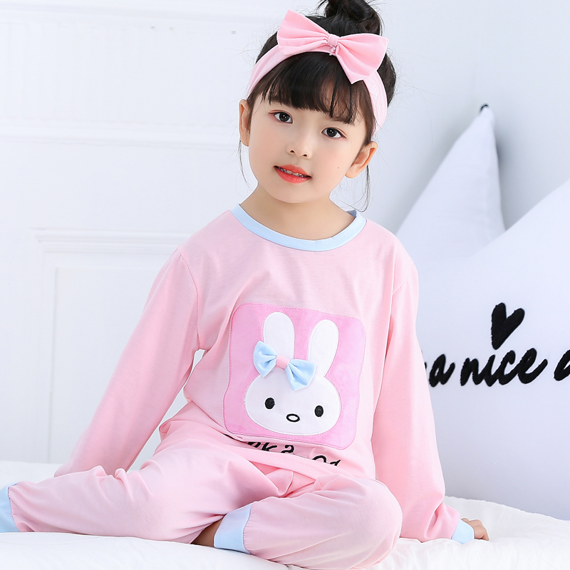 2019 Spring Autum   Pajamas     Set   for Girl Long Sleeve Cardigan Girls Cotton Pyjamas Kids   Pajamas     Set   Girl Sleepwear Send Headscarf