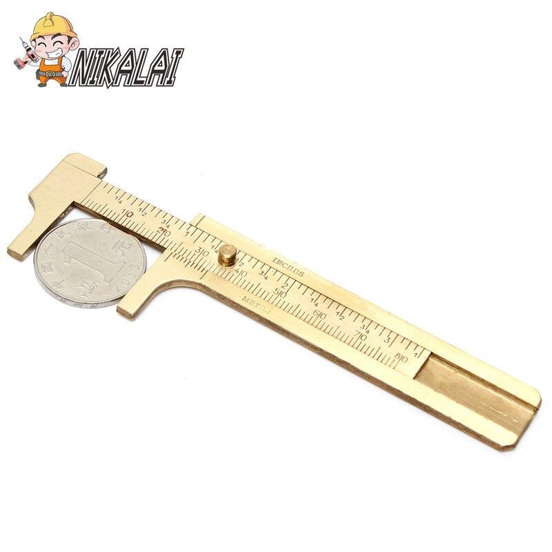 NOVO frete grátis Mini Latão Deslizante Calibre Vernier Caliper 80mm 3.15 Polegadas de Medição Jóias bronze Paquímetro