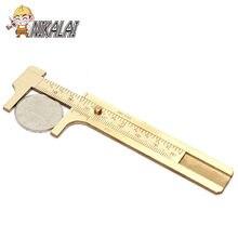 Mini latão sólido deslizante calibre vernier caliper 80mm 3.15 polegada jóias de medição bronze vernier caliper