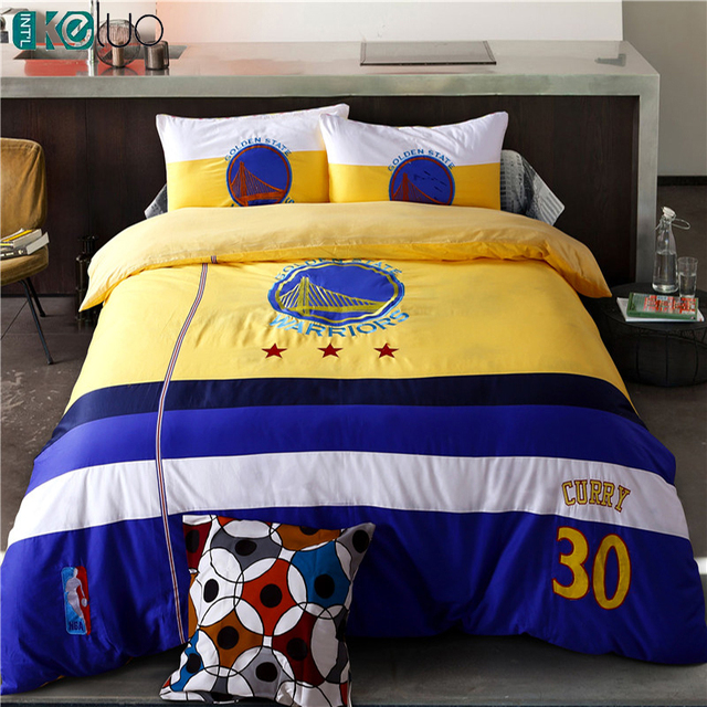 KELUO Hot Sale !Football Bedding Sets Bed In A Bag with Duvet Cover  Flat Sheet and Pillow Case Twin Queen Bed Embroider