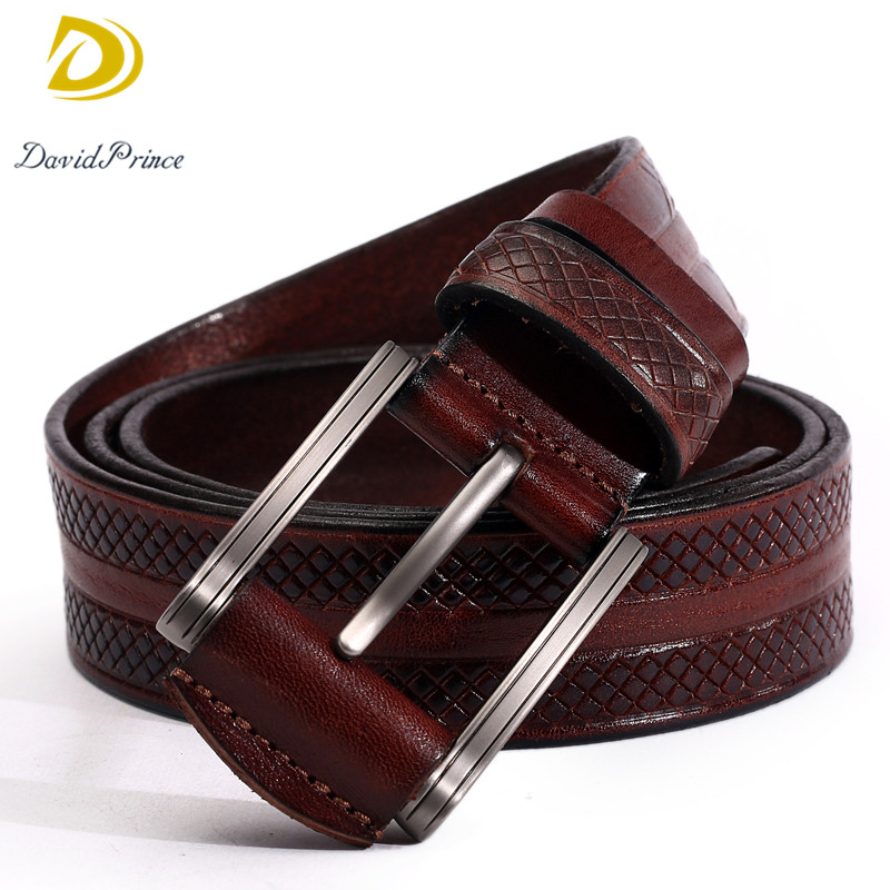 DavidPrince Dress Men Belt Sculpture Printing Leather Belt for Male High Quality Head Layer Cowhide With Buckle Top Leather Belt