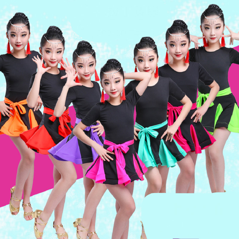 Girl Ballroom Dancing Dress child Competition Dancewear Kids Dance Latin Dance Dress For Girls Salsa tango skirt Costume spandex