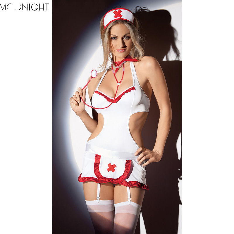 MOONIGHT Nurse Costume Women Babydoll Chemises Lingerie Sexy Hot Erotic Uniform Nurse Cosplay Sexy Costumes Halloween Role Play
