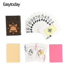Easytoday 1Pcs/Set New Classic Poker Baccarat Texas Holdem Waterproof Frosting Plastic Playing Cards Entertainment Games
