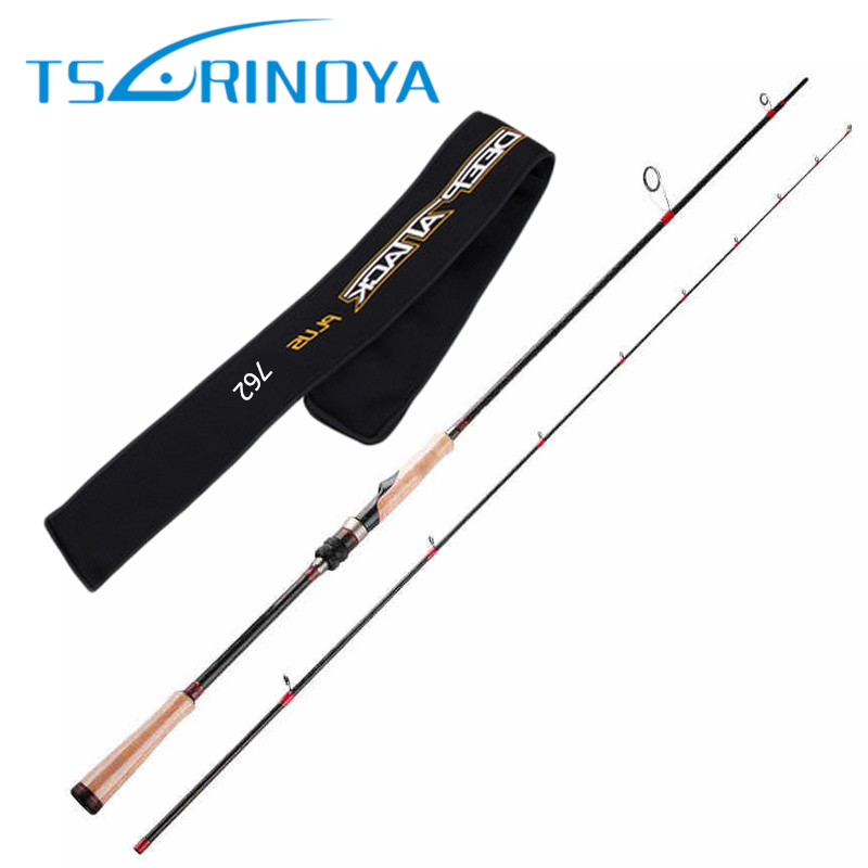 TSURINOYA Spinning Rod 2.28m 2 Section Carbon Lure Fishing Rod FUJI Reel Seat and FUJI Guide Ring Cork Handle Lure Weight 6-18g mother