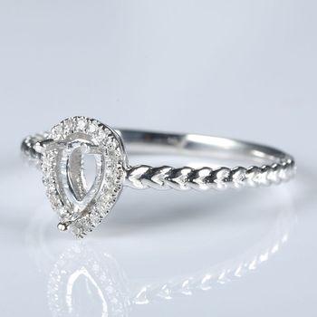 Women Fine Jewelry Solid 14k White Gold 4x6mm Pear Cut Diamonds Semi Mount Engagement Wedding Ring Valentine's day Birthday Gift 1