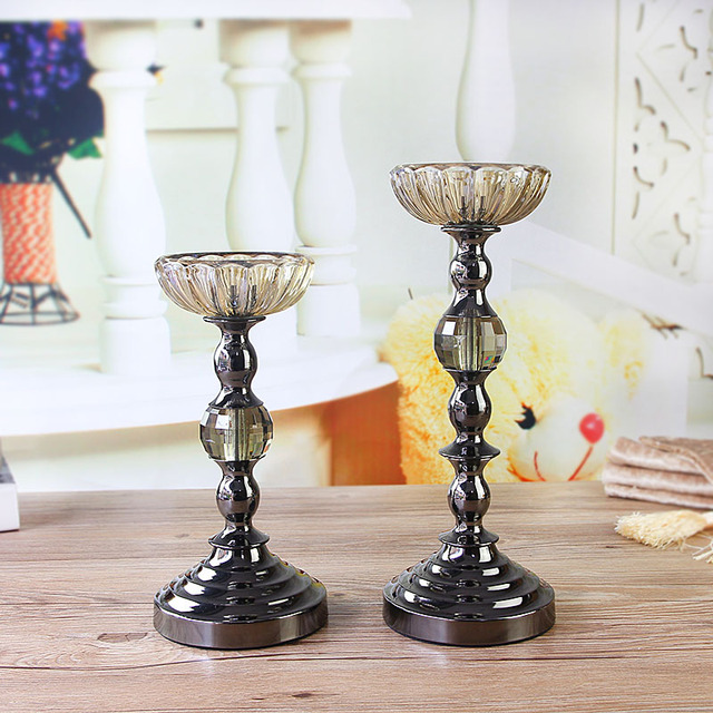 One Pair Fashion Home Decoration Crystal Wedding Candle Stand New House Living Room Dining Table
