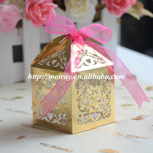 100pcs Personalized Gold Wedding Favor Box Party Favors Gift Event Supplies