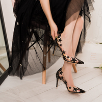 Transparent crystal high heel stiletto pointed star sequin bridesmaid wedding shoes ladies high heels