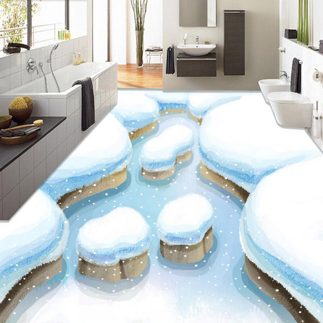 3d Floor Painting Wallpaper Winter Snow Views Waterproof