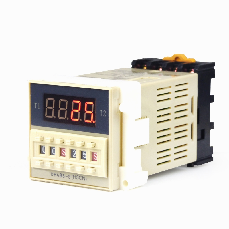 DH48S-S AC 220V repeat cycle SPDT time relay with socket DH48S series 220VAC delay timer with base 5 set lot asy 3d 1 999s ac 220v power on delay timer digital time relay 1 999 second 220vac 8 pin with pf083a socket base