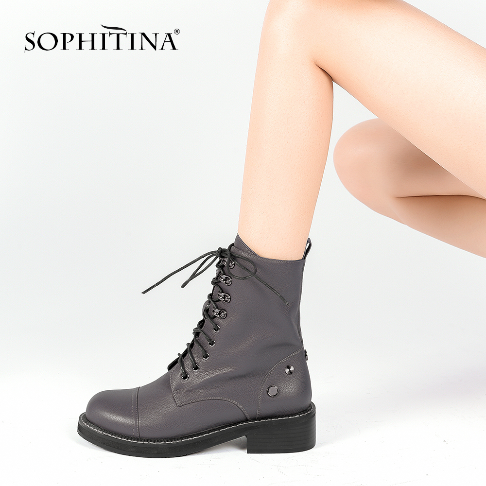 SOPHITINA Genuine Leather Ankle Boots Quality Handmade Round Toe Comfortable Short Plush Boots 2018 Fashion Motorcycles Boots M3