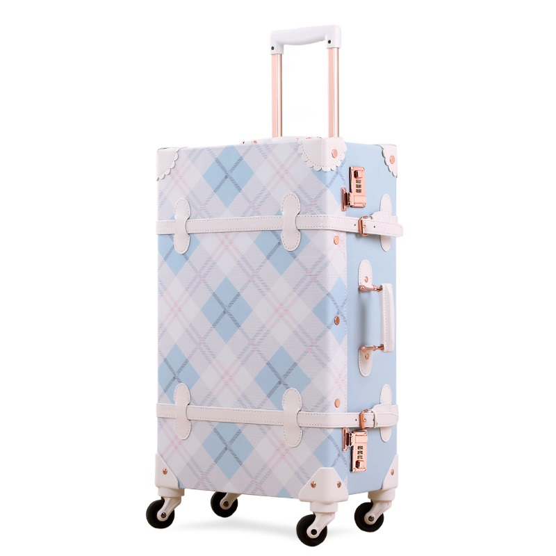 Fashion Lolita Suitcase Women Girl Gift Vintage PU Trolley Travel Bag Student Password Princess Style Trunk Carry On Luggage