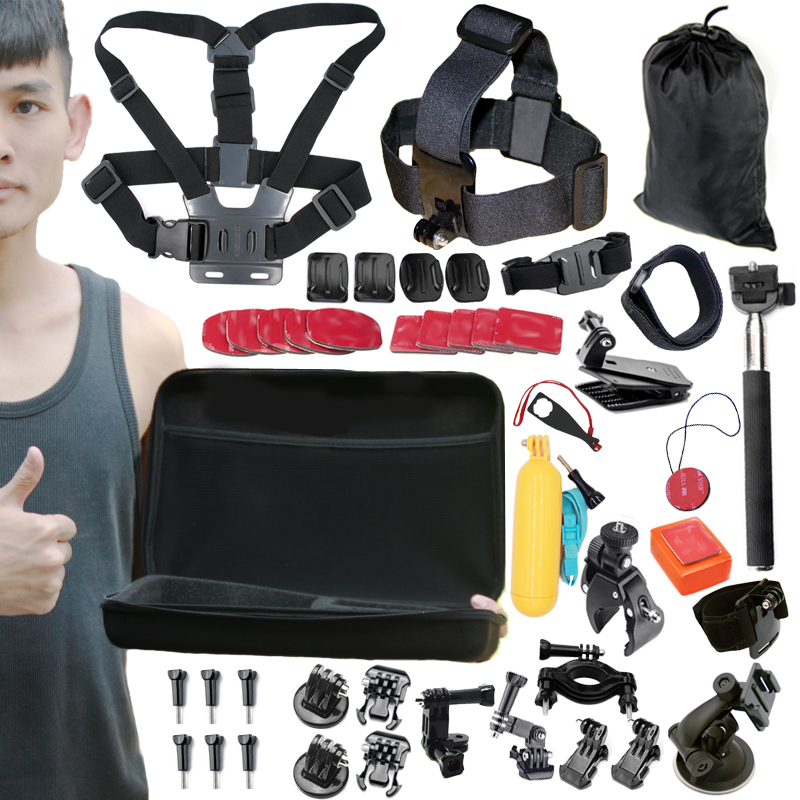 Gopro Accessories Set For Gopro 5 4 3+ 3 2 1EKEN H9R F60R W9R Xiaomi Yi 4K SJ4000 Action Cam with Head Strap Floating Stick