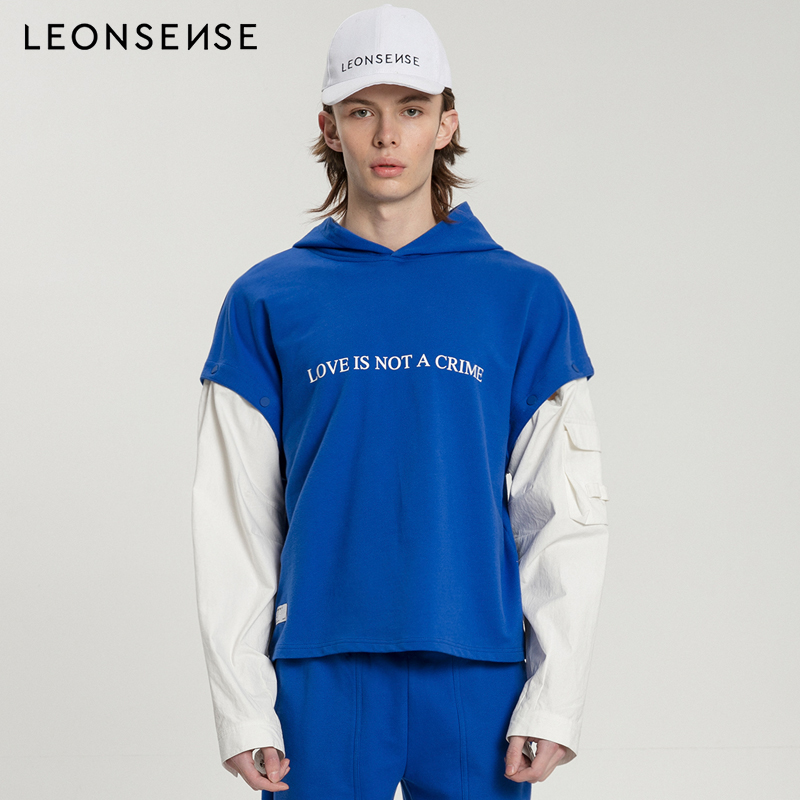 LEONSENSE Designer Mens Clothing love is not a crime Hooded Removable Sleeve Personality Original blue casual letter hoodie