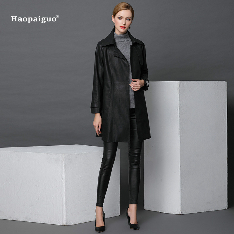 Women Fashion Autumn Winte PU   Leather   2018 Black Full Sleeve Turn-down Collar Vintage Office Long Coat Work Ladies Outwear Coats