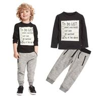 Casual Spring Letter Print Tops Baby Boys Fashion Clothing Set Kids Solid Sports Pants Children Wholesale