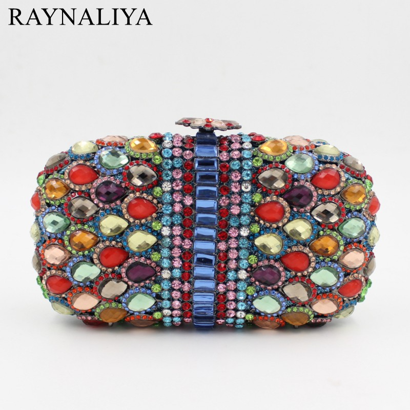 Diamonds Minaudiere Multi Color Crystal Evening Bags Party Dinner Night Bag Rhinestone Mini Purses Fashion Women Smyzh-f0108 diamonds