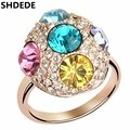 High Quality Colourful Crystal from Swarovski Wedding Engagement Rings for Women Fashion Accessories Rose Gold Plated Ring 4170