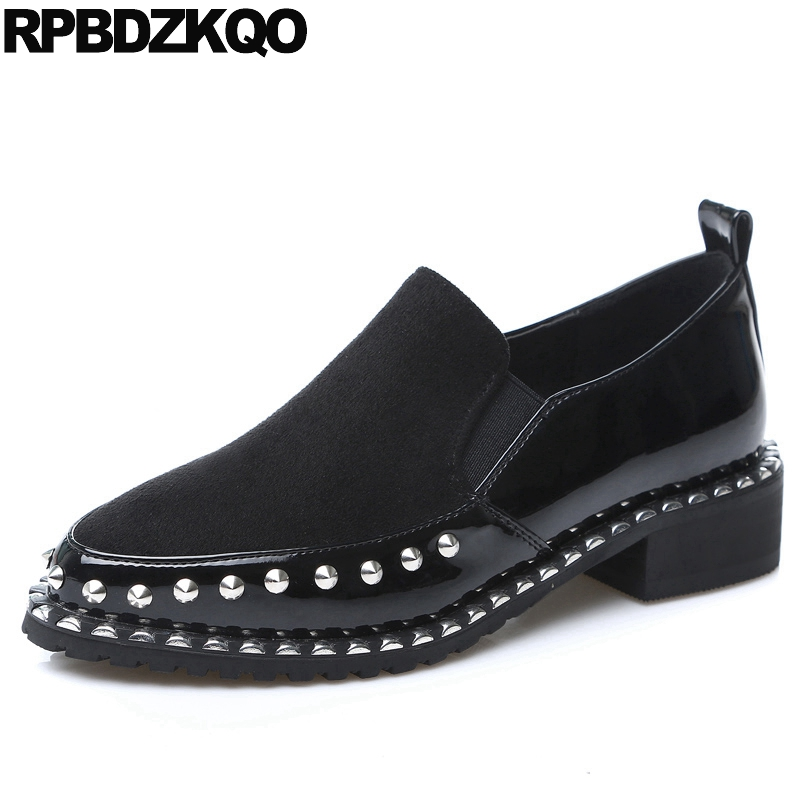 Rivet Flats Real Leather Stud Suede Black Cowhide Slip On Luxury Genuine Designer Pointed Toe Metal Brand Shoes Women European pu pointed toe flats with eyelet strap