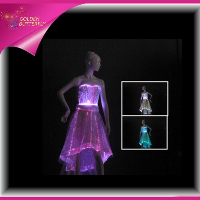 Luminous Skirt Bra LED Sexy Dress Skirt Fiber Clothe Vestido De Noite Glowing V Collar Dress Sexy For Women Dance Clothes
