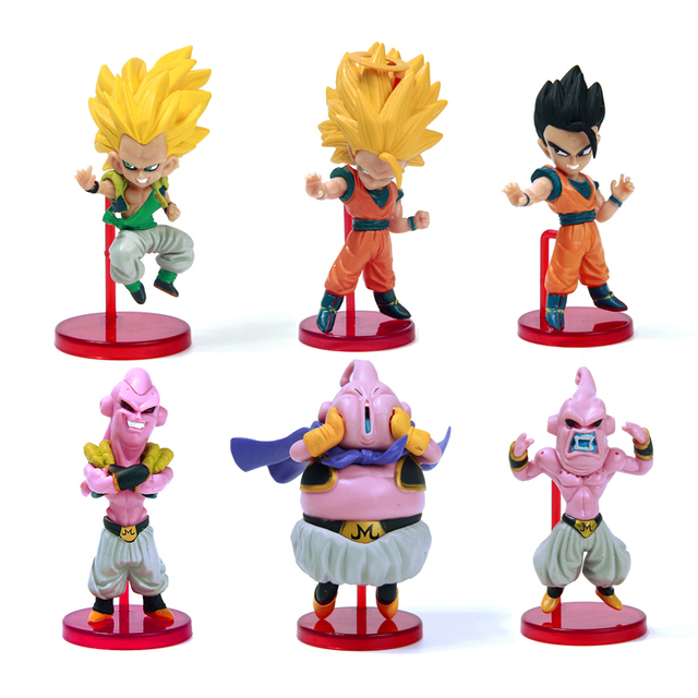 6pcs dragon ball z kai action figure son gokou gohan goten buu ubu