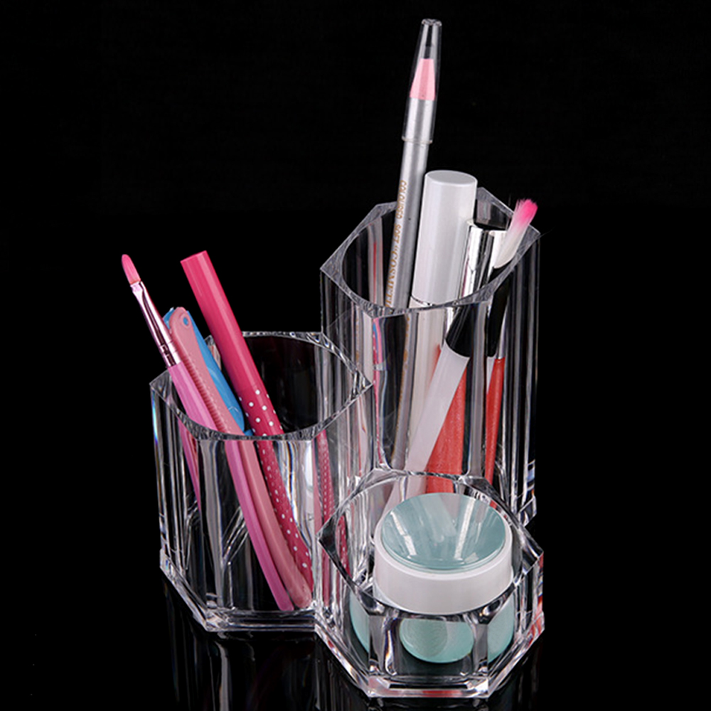 Behogar Transparent Acrylic Lipstick & Brush Holder Make Up Storage Display Stand Cosmetic Rack Organizer Cotton Pads Case