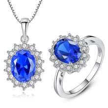 Fashion Wedding Oval 925 Sterling Silver Jewelry Set Blue Created Sapphire Ring Pendant Necklace Brand For Women Fine Jewelry недорого