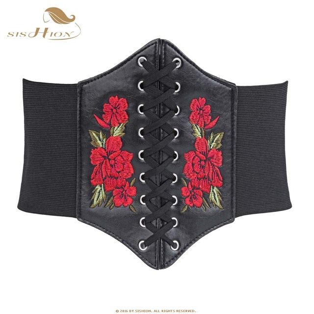 Cinturones Vintage de SISHION para mujer con encaje en la parte delantera negro ancho elástico cinturones cintura corsé con bordado Floral VB0009