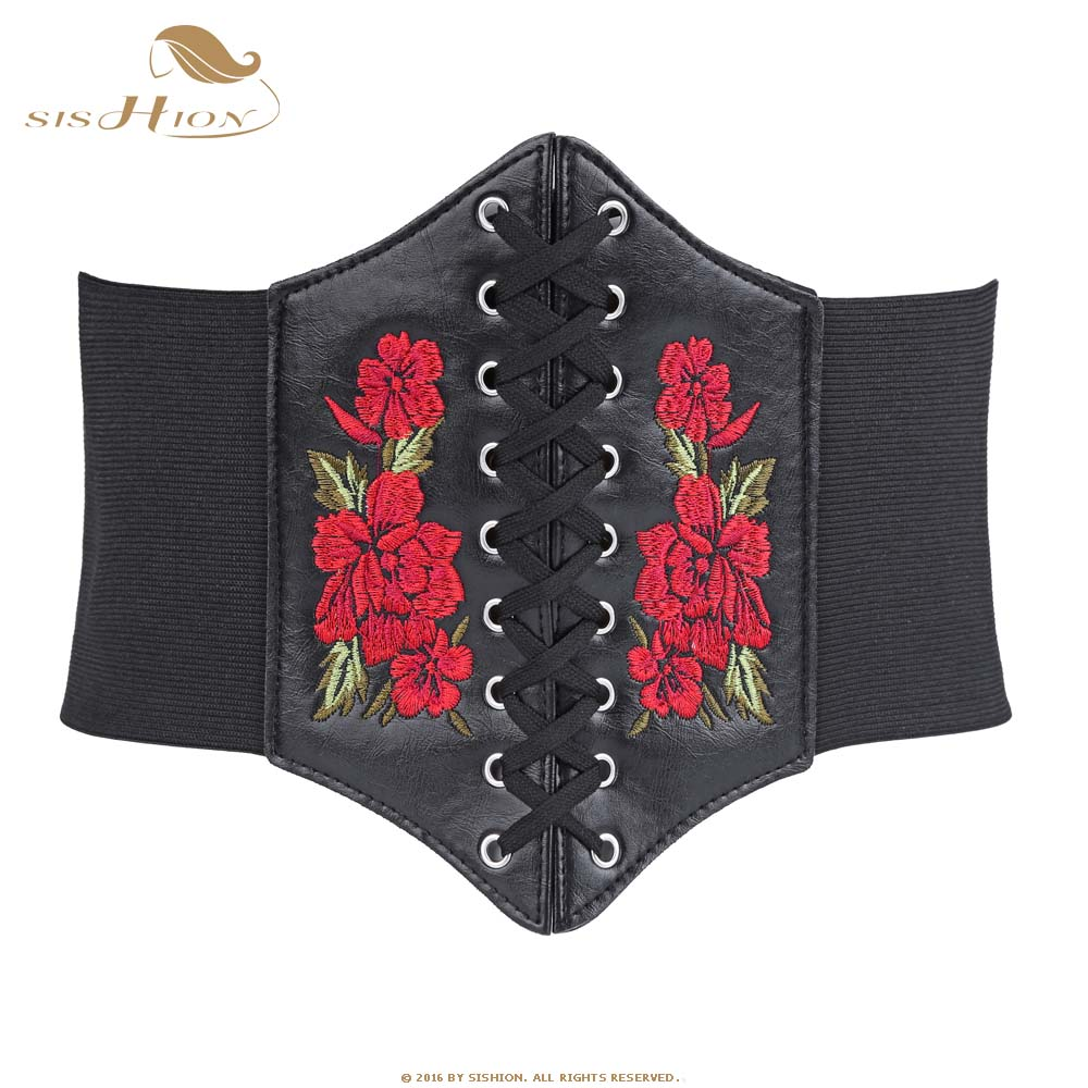 SISHION Vintage Belts For Women Lace Up Front Black Wide Stretch Elastic Belts Waist Corset With Embroidery Floral VB0009