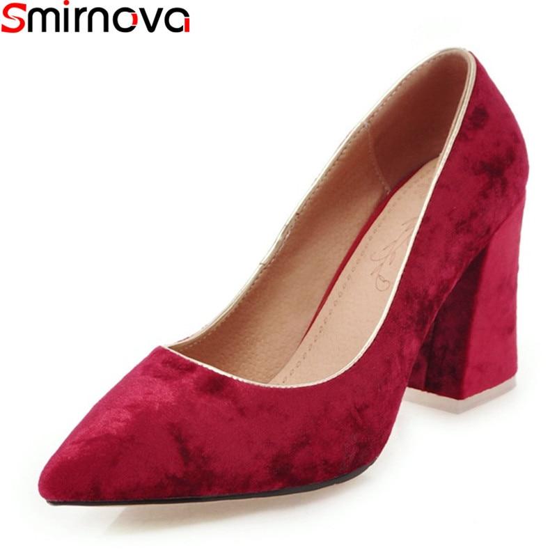 Smirnova Pumps Women Shoes Thick Heels 34-46 Elegant Solid-Color Pointed-Toe Big-Size
