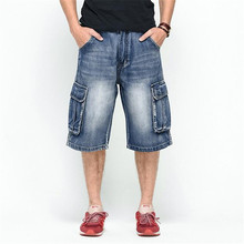 Plus Size 30-46 Mens Denim Cargo Shorts Multi Pockets Streetwear Baggy Jeans Shorts Skateboard Short Jeans Man LQ105