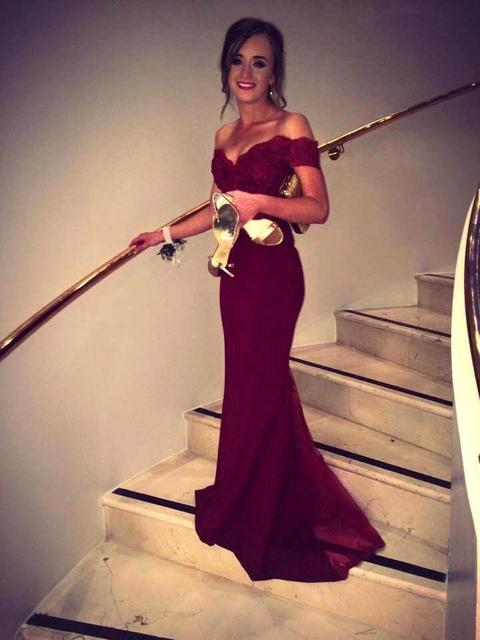 cac76b75d76 Fashion Off the Shoulder Long Mermaid Burgundy Prom Dresses 2019 New Applique  Lace Backless Satin Dress Party Eveing Gowns