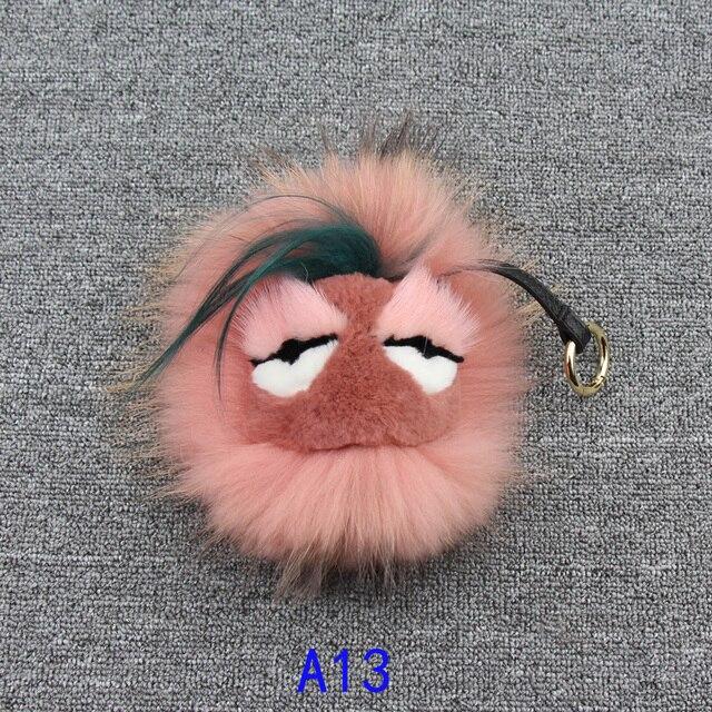 Fluffy Genuine Raccoon Fur Pom Pom Keychain fur keychain Monster key chain car key ring women Bag Charm