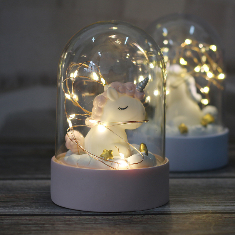 Cartoon LED Night Light Luminaria Garland Fairy String Lights Novelty Unicorn Night Lamp Bedside Lamp For Kids Christmas New Year Gift (8)