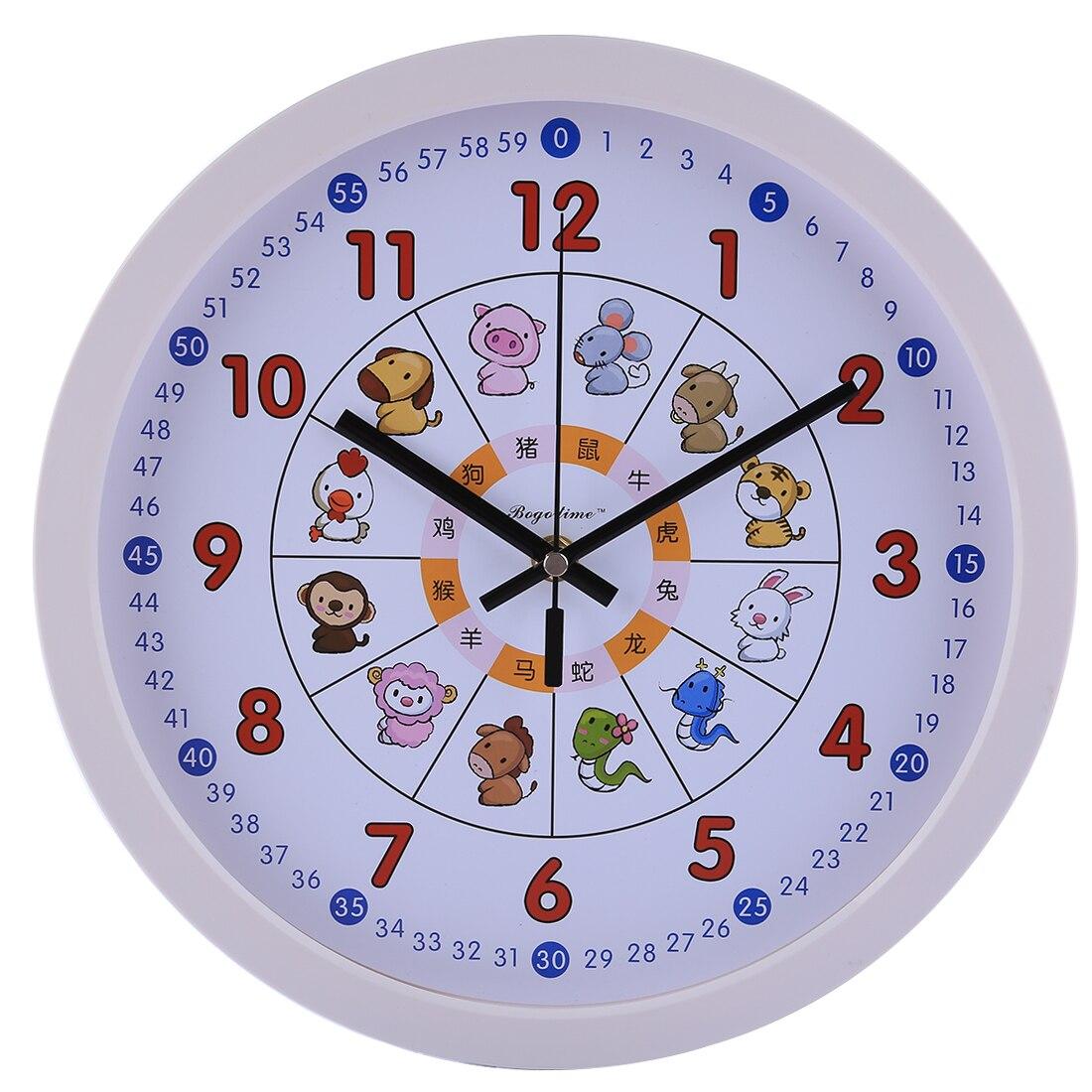 12 Inches Cartoon Animal Children Wall Clock Plastic Silent Brief Beautiful Wall Clocks For Bedroom Wall Home Decor