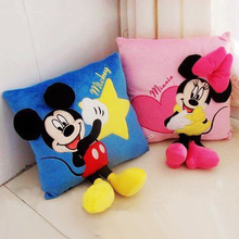 лучшая цена 35cm 3D Mickey Minnie Mouse Cushion Kawaii  Pillow Plush Toys Kids Toys Christmas Gifts Party Supplies Home Decorations