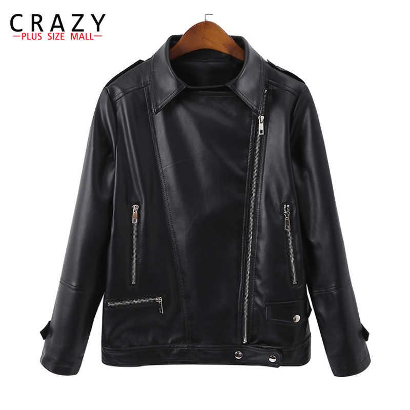 50c10041459 New 2018 Spring Plus Size 5XL 6XL Women Motorcycle Zipper Soft PU Leather  Jackets Women s Short