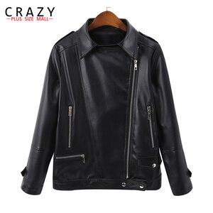 Женская мотоциклетная куртка на молнии, короткая куртка из мягкой искусственной кожи размера плюс 5XL, 6XL на весну, 2019, B246