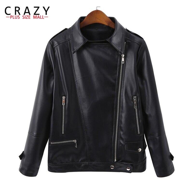 New 2018 Spring Plus Size 5XL 6XL Women Motorcycle Zipper Soft PU Leather Jackets Womens Short Design Outwear coats B246