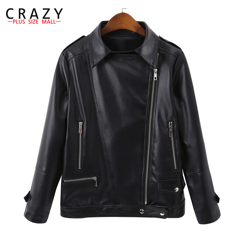 Nouveau 2018 Ressort Plus La Taille 5XL 6XL Femmes Moto Zipper Souple En Cuir PU Vestes Femmes de Court Conception Outwear manteaux B246