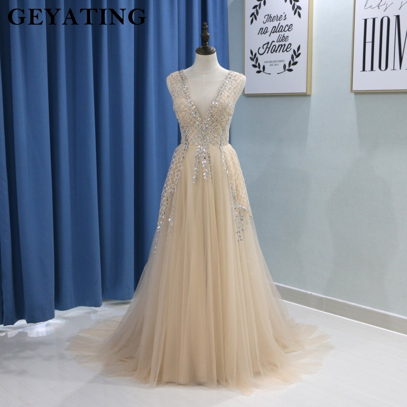 Deep V-Neck Beading Crystal Champagne   Prom     Dresses   Long 2018 Sexy High Slit Illusion Tulle Evening Formal Gown Women Party   Dress