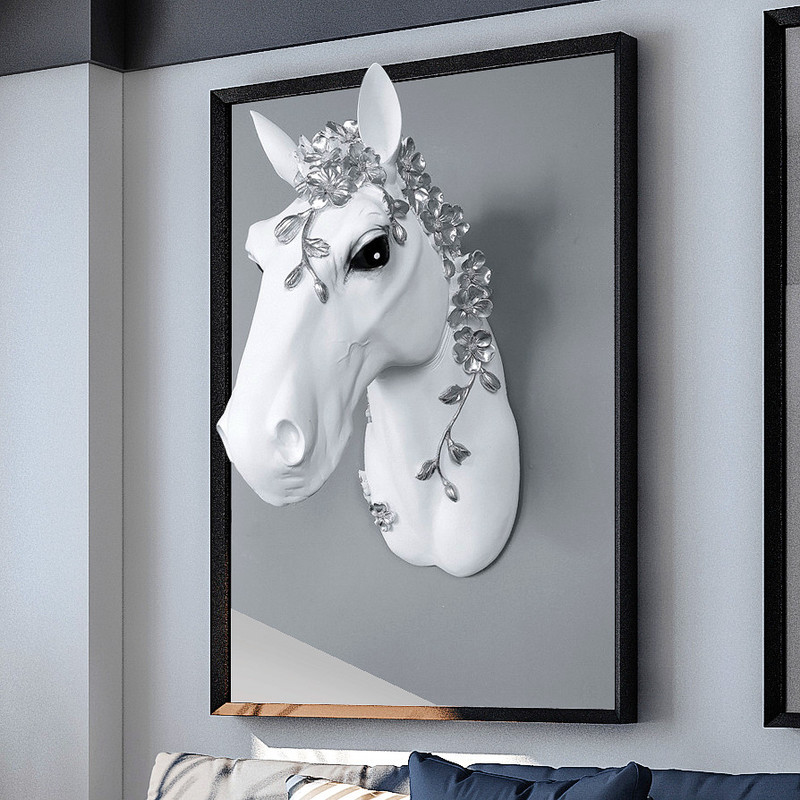 3D Resin Wall Horse Head Statue Animal Sculpture Murals Home Decoration Decor Accessories White Resin Handicraft Hanging Artwork monochrome
