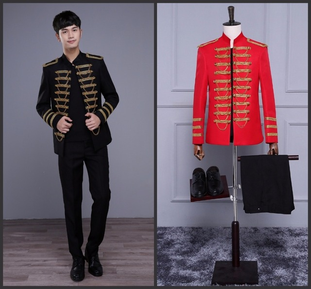 Black Or Red Stand Collar Epaulet  Chains Men Jacket Bar Nightclub Male Singer Wedding Costume  Show Stage Wear